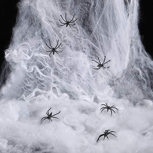 MeeQee Halloween Spinnennetz Dekorationen, Stretch Spinnennetz mit 30 Kunststoff Spinnen, Spuk Spinnengewebe Set für Halloween Dekor Requisiten Außen Hof, Indoor, Spukhaus, Türen, Bar