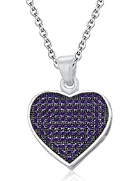 Silvernshine LADIES 10K WHITE GOLD FN AMETHYST SIM DIAMOND LOVE HEART SHAPE PENDANT NECKLACE