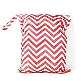 sac a couches - SODIAL(R) Sac a Couches Lavables pour Bebe Reutilisable Etanche Zippe (Rouge et Blanc)