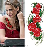 Handaxian 3pcsTatuaggio Adesivo Corpo Rosa Fiore Viola Tatuaggio Ragazza Tatuaggio Femminile Grande