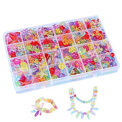 Perlen Basteln,Perlen für Armbänder Kinder Kunststoff Armband Basteln für Mädchen in PVC Box als Geschenk für Halsketten Armbänder Stirnband Ring 650pieces