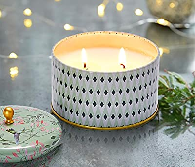 Scented Candle White Tea Natural Wax Candle 2 Wicks Large Tin 400g 80Hors from LA JOLIE MUSE