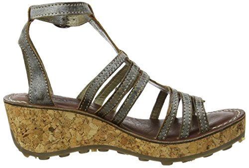 FLY London Givo942, Sandales Bride Cheville Femme Gris (Slate 007)
