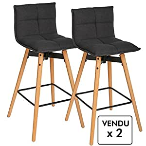 lot de 2 tabourets de bar style design coloris gris anthracite cuisine maison. Black Bedroom Furniture Sets. Home Design Ideas