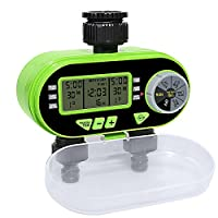 Aqualin Two Outlet Electronic Water Hose Timer With 2 Solenoid Valves Irrigation Controller Garden Watering Computer