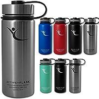Botella térmica ACTIVE FLASK con 3 tapones para oficina, bicicleta, gimnasio | Termo práctico, resistente, seguro | Cantimplora de acero inoxidable para café, té, bebida caliente | fría - 530 ml