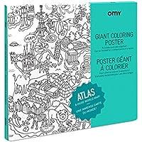 OMY Poster géant à colorier de l'Atlas format encadrable (70 x 100 cm)- ville et pays du monde entier