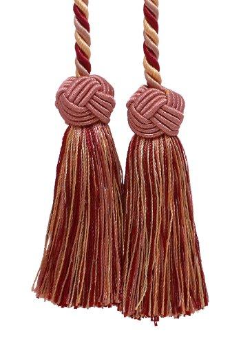 Double Tassel/rouge, rose clair/Tassel Cravate avec 8,9 cm glands, Baroque Collection Style # BCT Couleur : Bouquet de roses – 7953