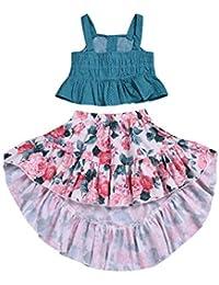 JUTOO Niñas pequeñas sin Mangas Dot Straps Camisa Tops Falda Floral Conjuntos de Ropa(90,100,110,120,130)