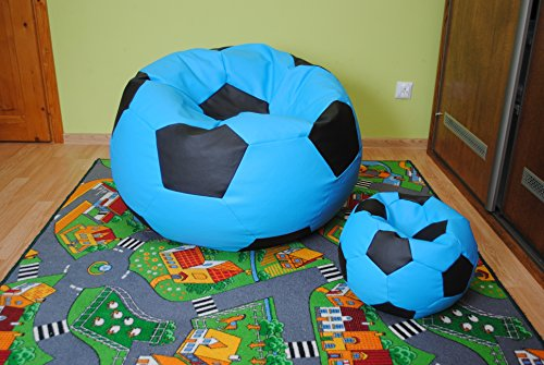 Egato Set sitzsack, puf, pouff, Bean Bag 100CM XXXL Football, Fußball
