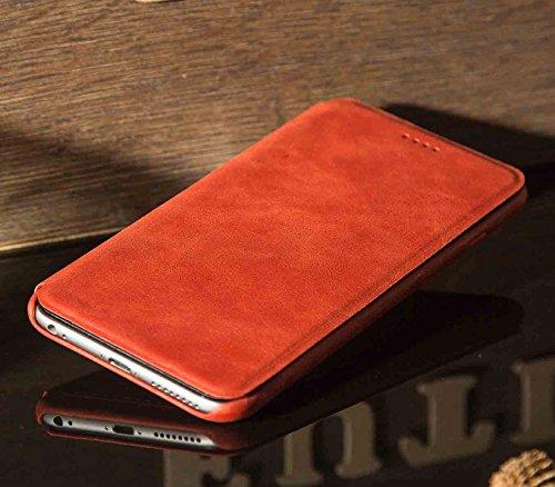 FUTLEX iPhone 6 Plus / 6S Plus Retro Style Echtleder Folio-Case - Braun - Einzigartiges Design - Präziser Schnitt und präzises Design - Handgearbeitet Retro Rote