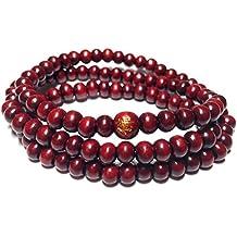 cameleon-shop–Pulsera Collar Tibetano extensible–Madera Rojo Sándalo–108cuentas 6mm–longitud 52cm