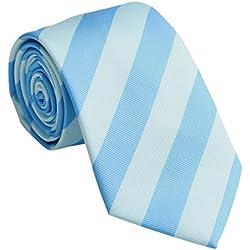 Streeze Corbatas de Rayas Sencillas para Hombres - Azul Celeste/Aguamarina