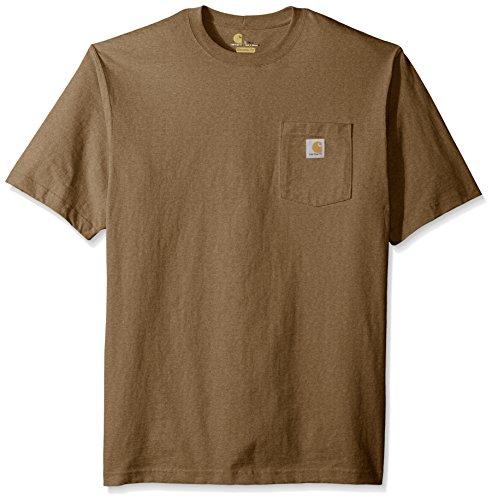 Carhartt Men's Big and Workwear Pocket Short Sleeve T-Shirt Original Fit K87, Barrel Heather, 2X-Large/Tall (Pocket K87 Carhartt Workwear T-shirt)