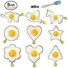 Anillos de huevo Beichen 9 UNIDS de Acero Inoxidable Huevo Frito Crepe Moldeador Antiadherente Molde Con