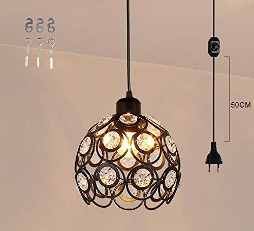 Plug-in Pendelleuchte-lampen (fsliving plug - in - kristall - anhänger lampe 4.5m schwarzen schnur mit on / off - dimmer wechseln nicht enthalten sind - aus (tb0211-de))