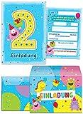 8 Einladungskarten zum 2. Kindergeburtstag blau incl. Umschläge / bunte Einladungen zum Geburtstag für Jungen/Mädchen