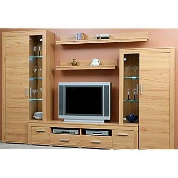 Anbauwand Kernbuche dekor, Wohnzimmerschrank, TV-Wohnwand Kernbuche ...