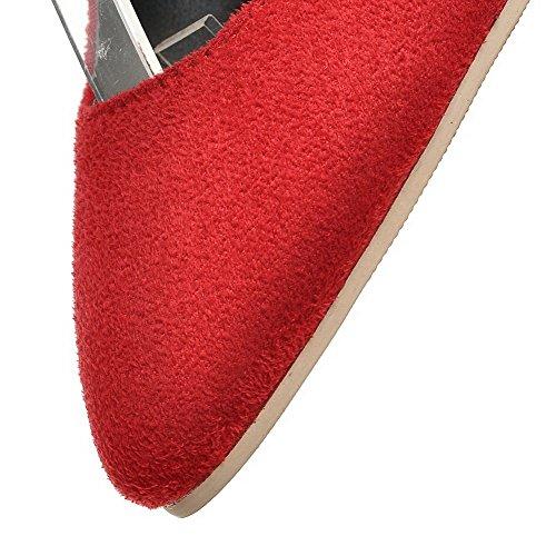 VogueZone009 Damen Rein Mattglasbirne Mittler Absatz Spitz Zehe Schnalle Pumps Schuhe Rot