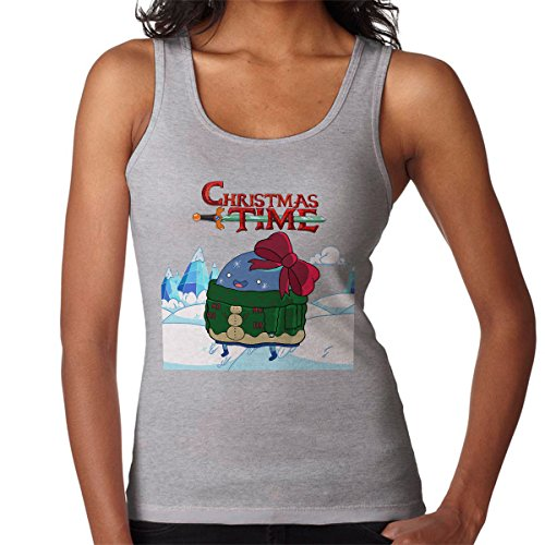 Adventure Christmas Time Bow Ice World Cartoon Network Women's Vest Heather Grey