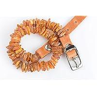 [Gesponsert]Handgemachtes, komplett natürliches baltisches Roh-Bernstein Floh- und Zeckenhalsband mit anpassbarer hellbrauner Lederschließe für Hunde und Katzen/ Gemacht mit Liebe, schön, praktisch, natürlich