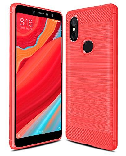iBetter Xiaomi Redmi S2 Funda, Xiaomi Redmi S2 Funda de Silicona para teléfono Inteligente Xiaomi Redmi S2 con Fibra de Carbono Suave. Rojo