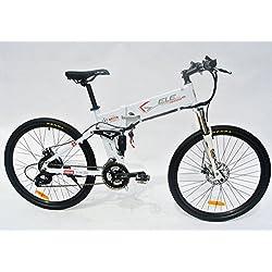 elecycle 250W eléctrico para bicicleta 26pulgadas con Shimano 21velocidades plegable bicicleta de montaña en color blanco con pantalla LCD