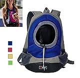 AsiaLONG Hundetasche Rucksack Atmungsaktive Haustier Rucksäcke mit Straps Netzfenster Hundetragetaschen für Kleine Hunde und Mittelgrosse Hunde Reise Umhängetasche (S, Blau)