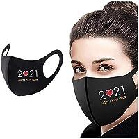 COKKISS UK 1 pieza 2021 Feliz Año Nuevo Adulto cubierta cara a prueba de viento niebla niebla hielo seda algodón protección bandanas reutilizables lavables piel amigable con la cara
