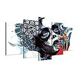 MXSNOW 5 Leinwanddrucke Rahmen Home Wanddekorkunst Hd Print Malerei Auf Leinwandbilder Kunstwerke Abstrakte Mädchen Maske Poster BilderDrucke Auf Leinwand