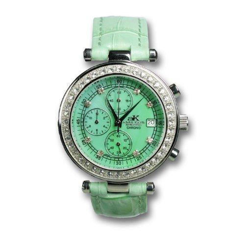 Adee Kaye AK-1009-L-G - Orologio da polso da donna, cinturino in pelle colore verde