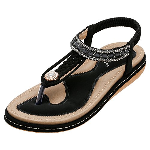 SANMIO Damen Sandalen, Frauen Flach Zehentrenner Bohemian Strass Sandaletten Sommer PU Leder Sandals- Gr. 41 EU (Etikettgröße: 42), Schwarz