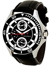 Svviss Bells™ Original Black Dial Black Strap Analog Wrist Watch For Men - TA-843