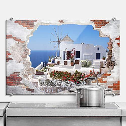 Spritzschutz 3D Optik - Urlaub in Griechenland Küche Küchenrückwand Spüle Herd Insel Urlaub Sommer Sonne Haus Windmühle Meer Mittelmeer Wand Mauer Wall-Art - Urlaub Küche