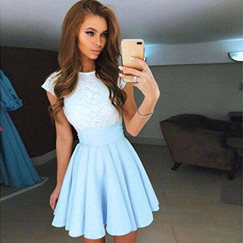 Kleider für Damen Frauen Spitze Kurzarm Kleid, Kolylong Light Blue