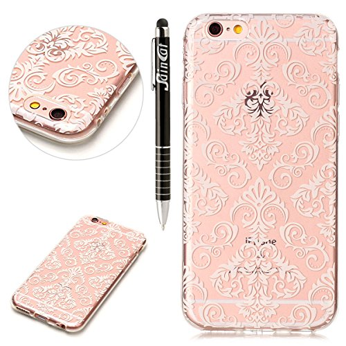 Custodia iPhone 6 Plus, iPhone 6S Plus Cover Silicone Trasparente, SainCat Custodia in Morbida TPU Protettiva Cover per iPhone 6/6S Plus, 3D Creative Design Transparent Silicone Case Ultra Slim Sottil Fiori di Pizzo Bianchi