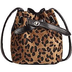 OHQ Bolso Bandolera Leopardo De Gamuza para Mujer Estampado De Felpa Messenger Bolso Cubo Messenger Crossbody Clip Billeteras PequeñAs Tarjetero NiñO (Marrón)