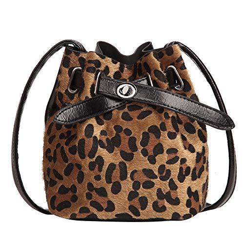 Huihong Damen Trendige Umhängetasche Plüsch Leopardenmuster Kreuzkörper Eimer Tasche Messenger Bag Tote (Braun) - Schwarz Leopard Print Tote