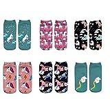 LegendsChan 6 Paar Damen Mädchen Cartoon Einhorn Socken Weich Elastisch Sport Socken Strümpfe Füßlinge Bunt Motiv, Mehrfarbig, Gr. One size (36-40 EU)