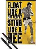 1art1® Poster + Suspension : Muhammad Ali Poster (91x61 cm) Je Vole comme Le Papillon Et Pique comme L'Abeille Et Kit De Fixation Noir
