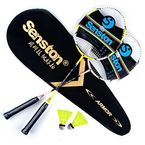 Senston Carbon Badminton Set,Badminton Schläger.Inklusive 2 Schläger(Gelb und rosa) und Schlägertasche, 2 Badminton.