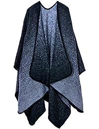 Beunique Femme Poncho Tricot Cape Ouverture Chaud Echarpe Mode Châle Automne  Hiver Mode 98ff2eb4e80