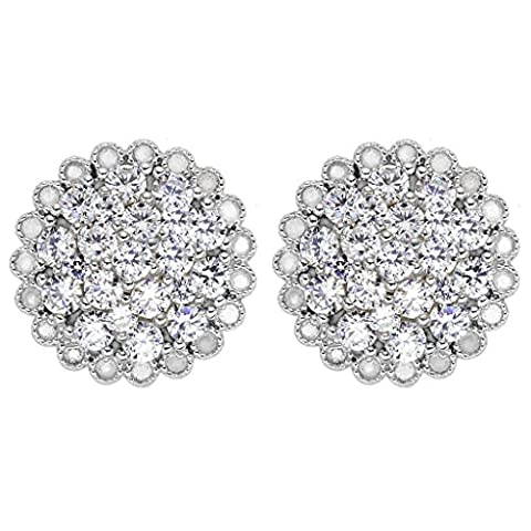 EVER FAITH® 925 Sterling Silver Cubic Zirconia Luxurious Round Shape Flower Stud Earrings Clear