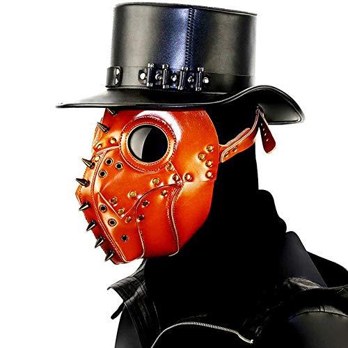 Pest Dr Kostüm - JOKOP Plague Doctor Mask Mittelalter Steampunk Kostüm Pest-Maske Zubehör Mit Belüftungslöchern Einstellbarer Kopfbügel für Party Fasching Cosplay Halloween