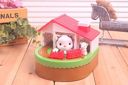 Abenily Münzen-Spardose-Geschenkbox Katze und Maus Zug Sparschwein Musik Elektrische Geld Bank Kinder Geschenk (weiße Katze)