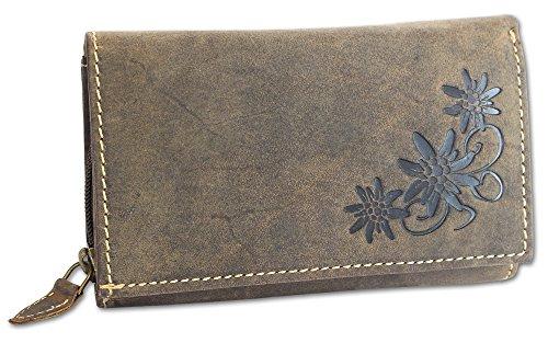 HAROLD'S Damen Geldbörse Leder Langbörse große Damenbörse Portemonnaie mit Edelweiß-Prägung antikbraun (5497) - Prägung Leder Geldbörse