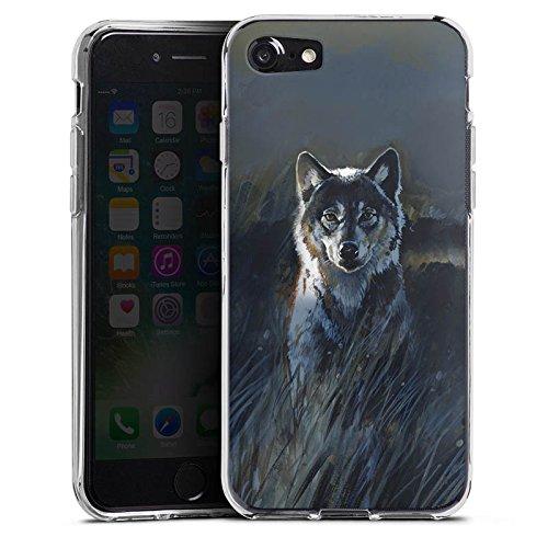 Apple iPhone X Silikon Hülle Case Schutzhülle Wolf Natur Dunkel Silikon Case transparent
