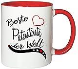 Mister Merchandise Kaffeebecher Tasse Beste Patentante der Welt Freundin Freundschaft Pate Tante Genurt Schwanger Teetasse Becher Weiß-Rot