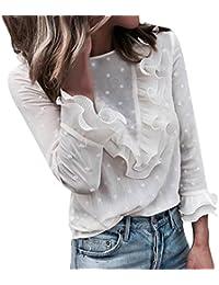 Damen Oberteile URSING Casual Sweatshirt Schöne Tupfen Drucken O-Ausschnitt  Lange Ärmel Flare Rüschen T-Shirt mit Spitze… 5a85efd6bf