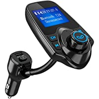 Bluetooth FM Transmitter, [Upgraded Version] Wireless In-Car Radio Adapter with 3.5mm Audio Port, TF Card Slot, 5V-2.1A USB Charge Port, Microphone, One-Key Operation, Hands-free Calling for Car Kit